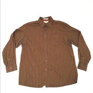 Faconnable Mens Brown Striped Dress Shirt XL